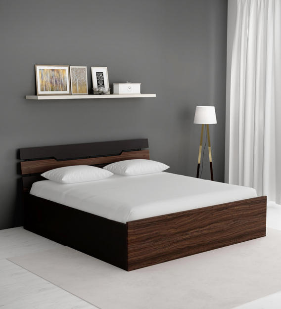 Buy Duke King Size Bed With Storage In Wenge Finish By Crystal Furnitech Online Modern King Size Beds Beds Furniture Pepperfry Product