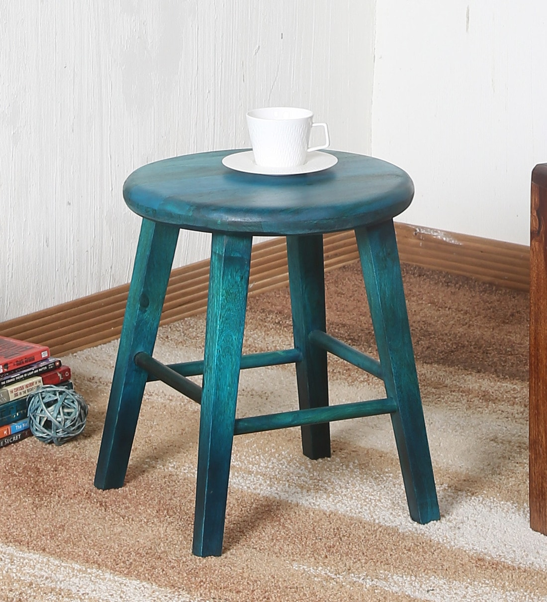 esco solid wood stool in rustic blue