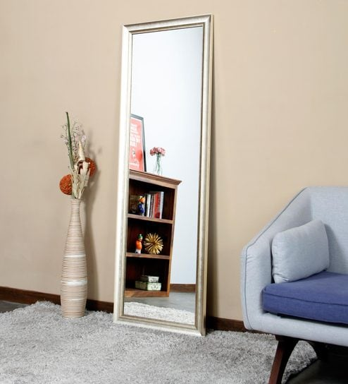 full length mirror in living room tv mounting ideas buy evie rectangular silver finish by zahab online modern mirrors furniture accents pepperfry product