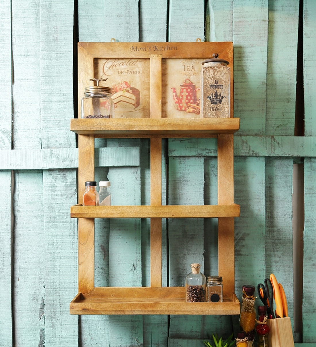 Buy Wood Kitchen Rack In Brown By Fabuliv Online Kitchen Shelves Kitchen Shelves Discontinued Pepperfry Product