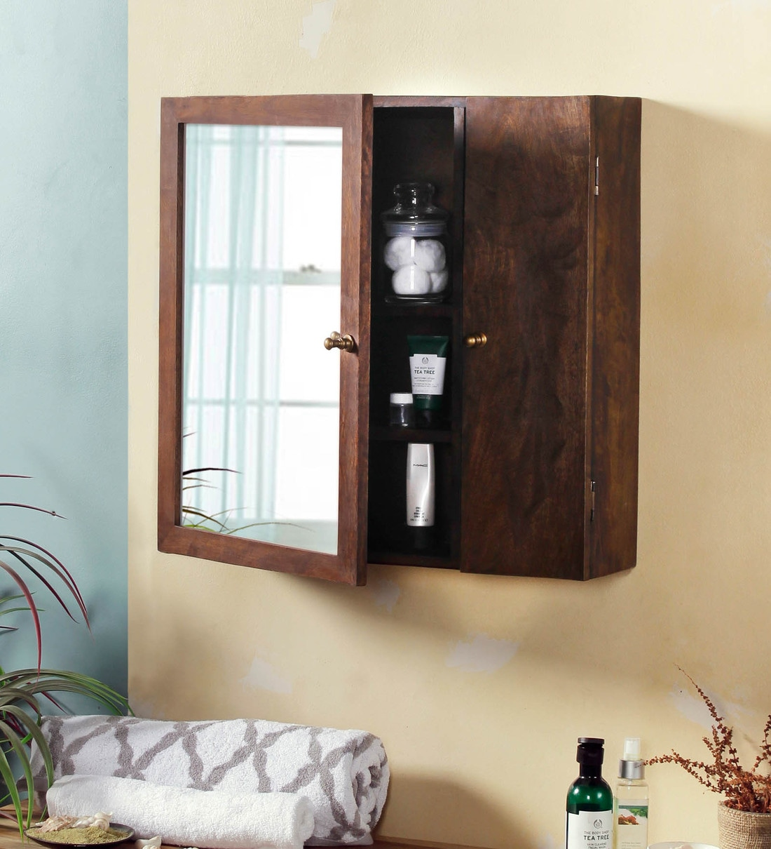 Buy Mango Wood Walnut Finish 6 Compartment Wall Cabinet By Fabuliv Online Wall Cabinets Wall Accents Home Decor Pepperfry Product
