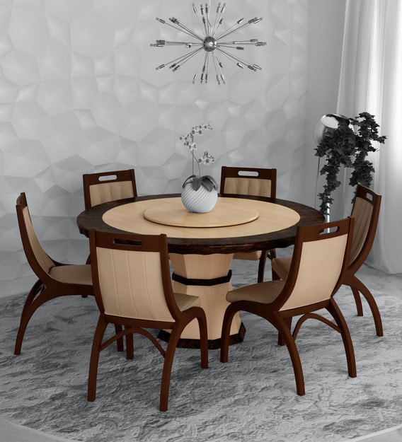 Buy Feng 6 Seater Dining Set In Brown Beige Colour By Durian Online Traditional 6 Seater Dining Sets Dining Furniture Pepperfry Product
