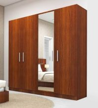 Buy Four Door Wardrobe with Mirror in Bird Cherry Finish ...
