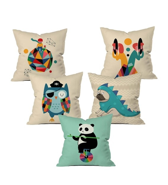 funny animals cushion cover set of 5
