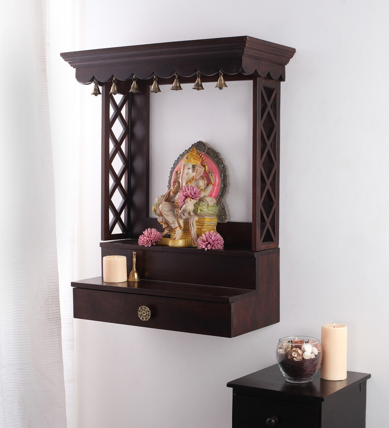 corner tv stand ideas for living room modern wall sconces buy solid wood hand made pooja mandir in walnut finish by ...