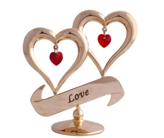 24k Gold Plated With Swarovski Crystals Double Heart Love Showpiece By Gold N Gem
