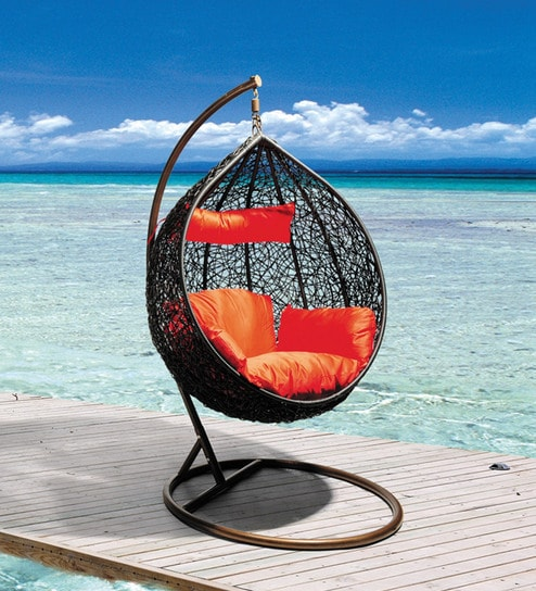 swing chair with stand pepperfry ted modern barrel buy glober orange cushion by royal oak online swings hammocks outdoor furniture product