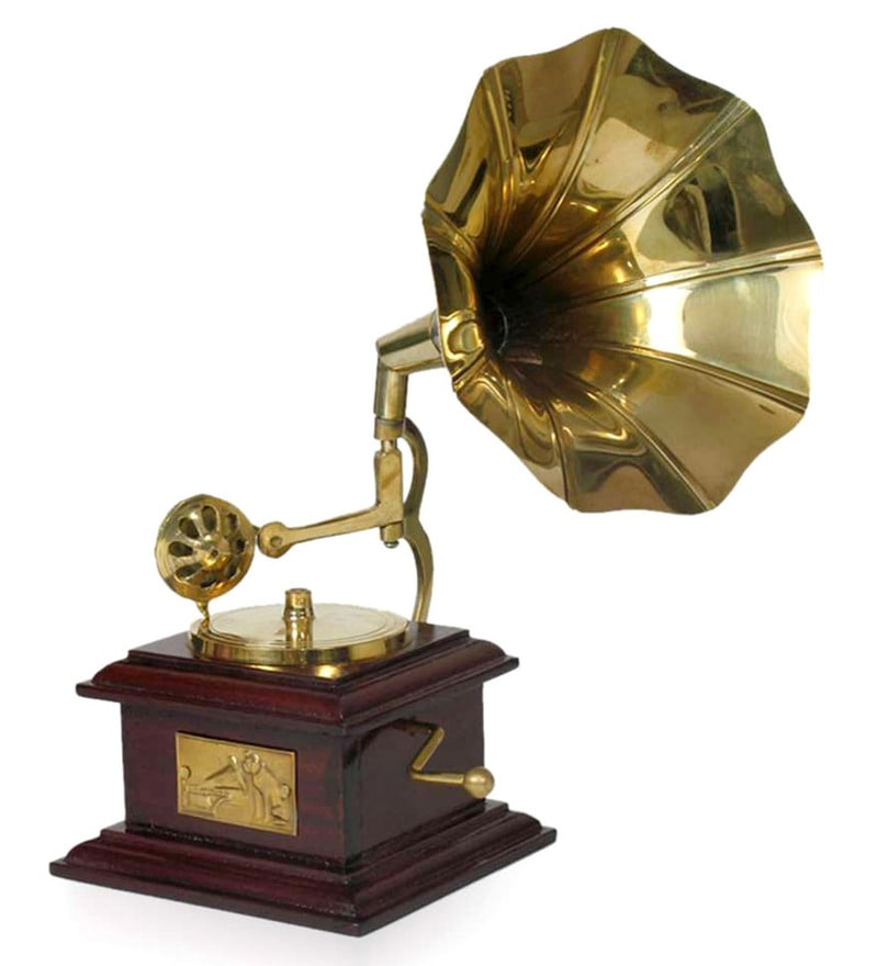 Buy Gold And Brown Brass & Wood Square Gramophone By Home