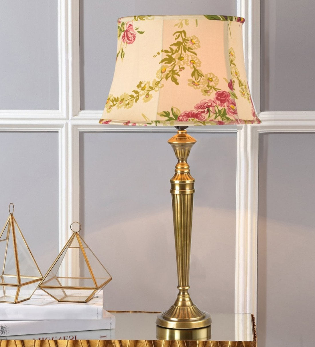 Buy Groove Hersey Cream Cotton Shade Table Lamp With Brass Base By Kapoor E Illuminations Online Traditional Table Lamps Table Lamps Lamps Lighting Pepperfry Product