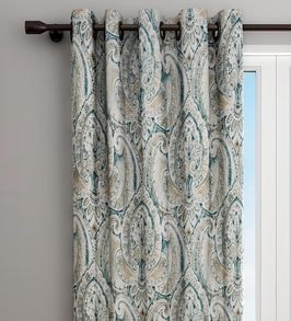 green blackout cotton 108 inches eyelet long door curtain