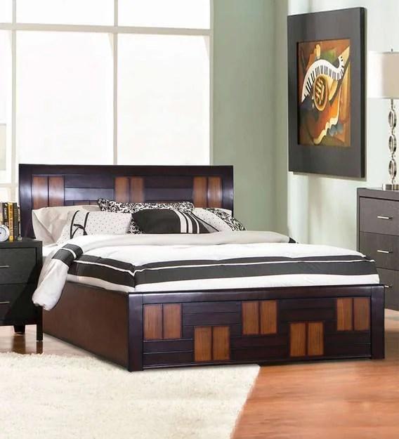 hazel modern king size bed with storage in walnut finish