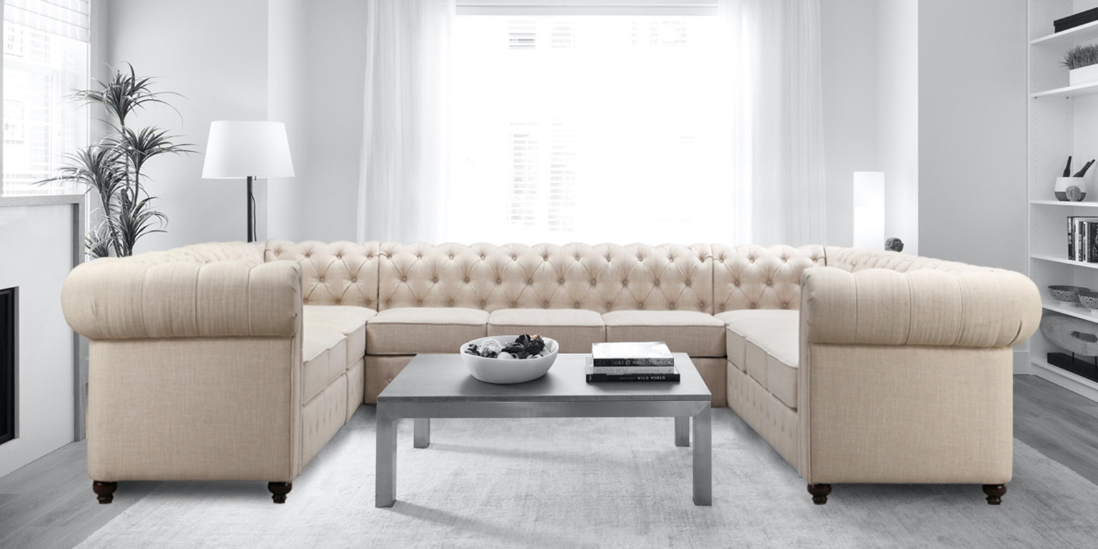 Buy Impressive Chesterfield U Shape Sectional Sofa In Beige Colour By Dreamzz Furniture Online Chesterfield Corner Sofas Sectional Sofas Furniture Pepperfry Product