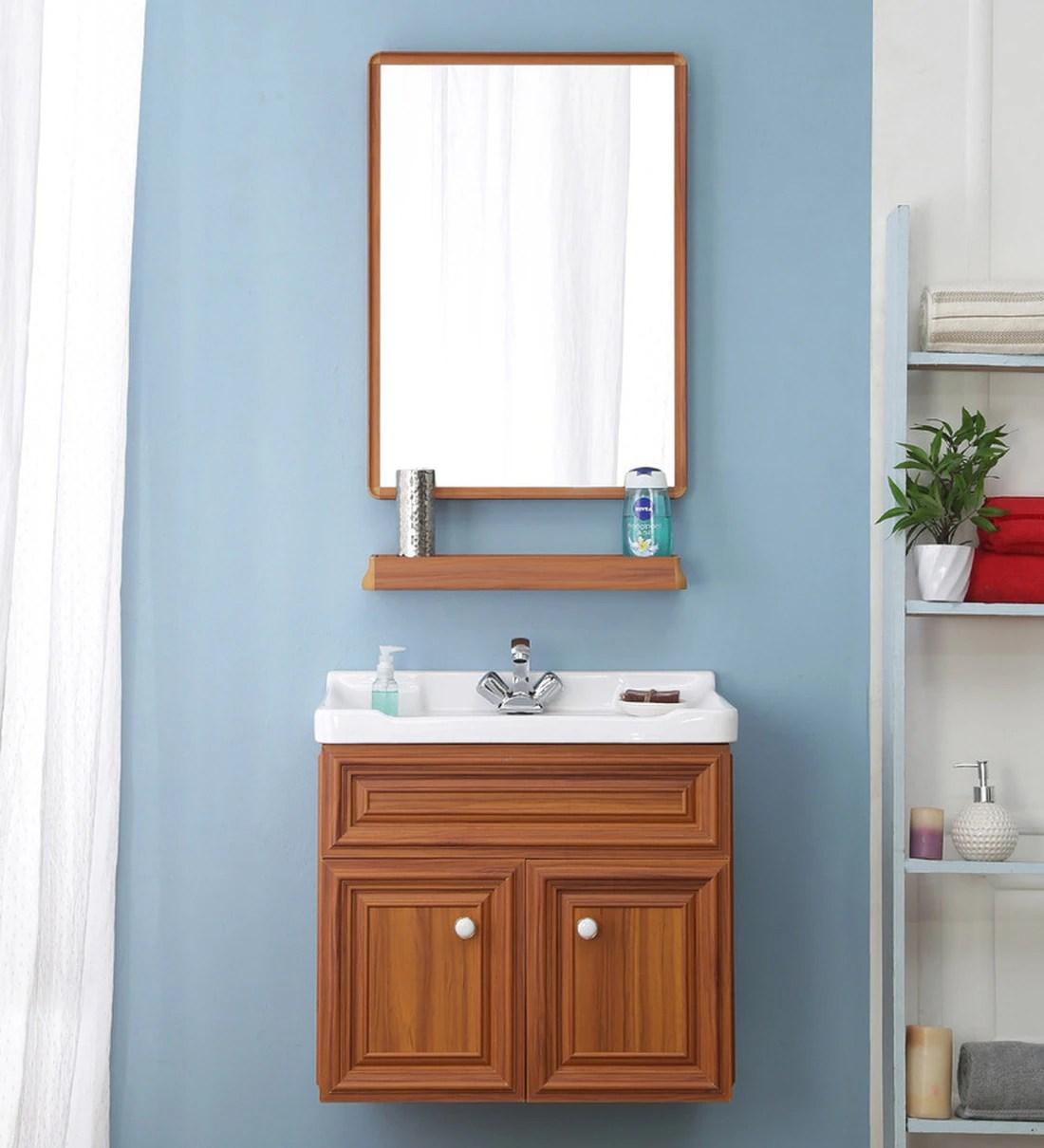 Buy Aluminium Wall Mounted Bathroom Vanity In Teak Yellow By Jj Sanitaryware Online Vanities Bath Discontinued Pepperfry Product