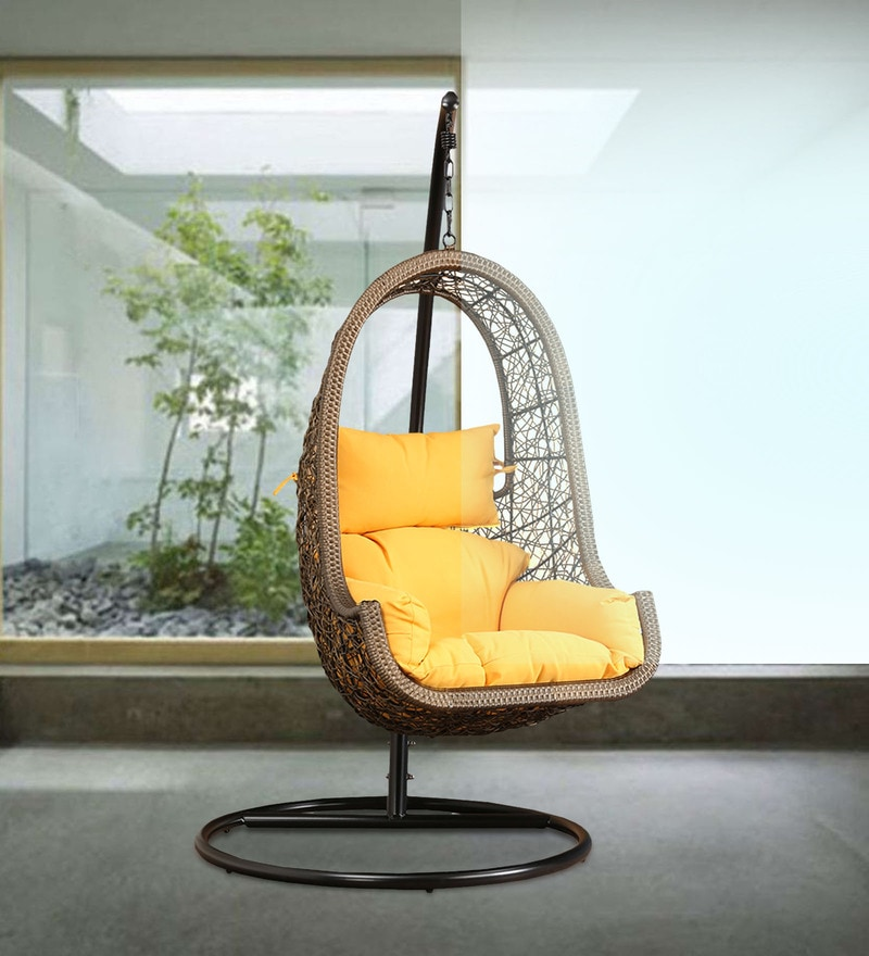 swing chair with stand bangalore reupholster dining buy juniper yellow cushion by hometown online click to zoom in out