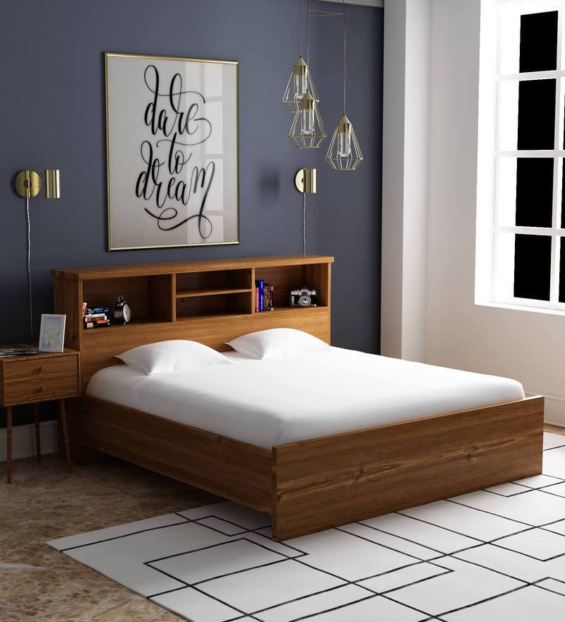 Buy Kimura King Size Bed in Teak Finish by Mintwud Online  Modern King Sized Beds  Beds