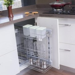 Kitchen Basket Pull Out Shelves For Buy Klaxon Stainless Steel Triple Online Baskets Organisers Housekeeping Pepperfry Product