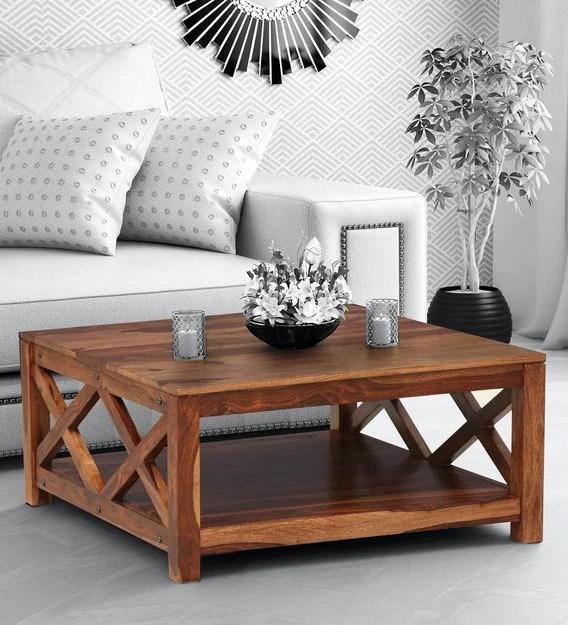 kryss solid wood coffee table in rustic teak finish