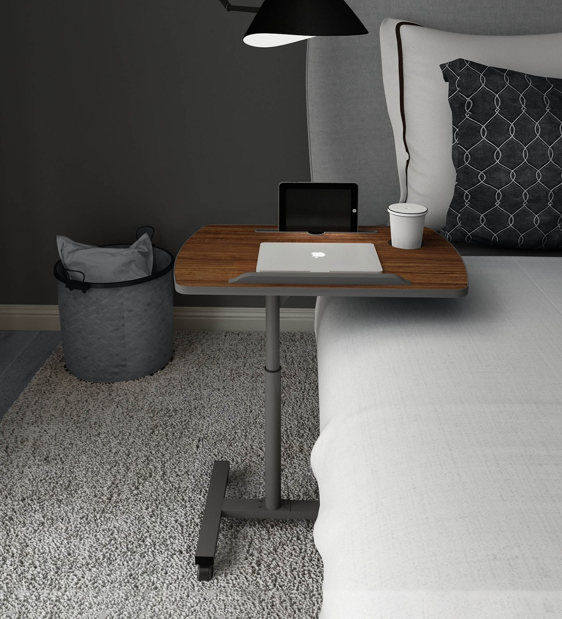 livenza laptop table with adjustable height in walnut finish