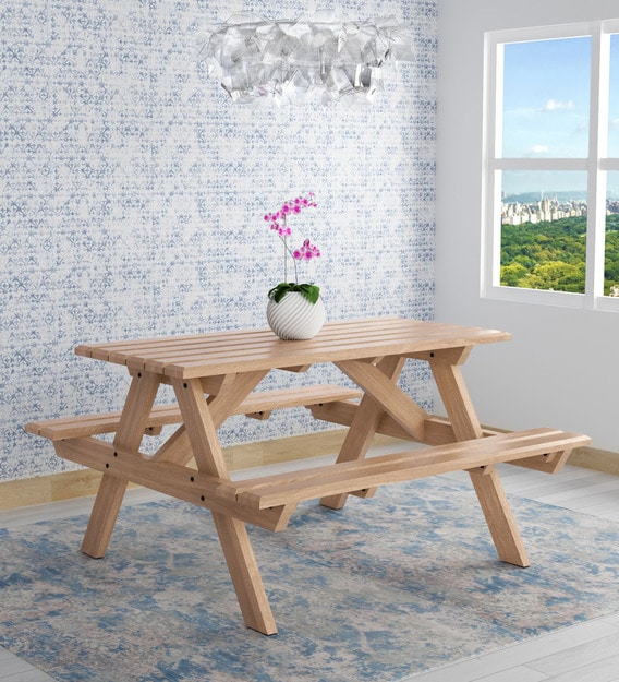 lomira solid wood 4 seater patio dining set in natural mango wood finish