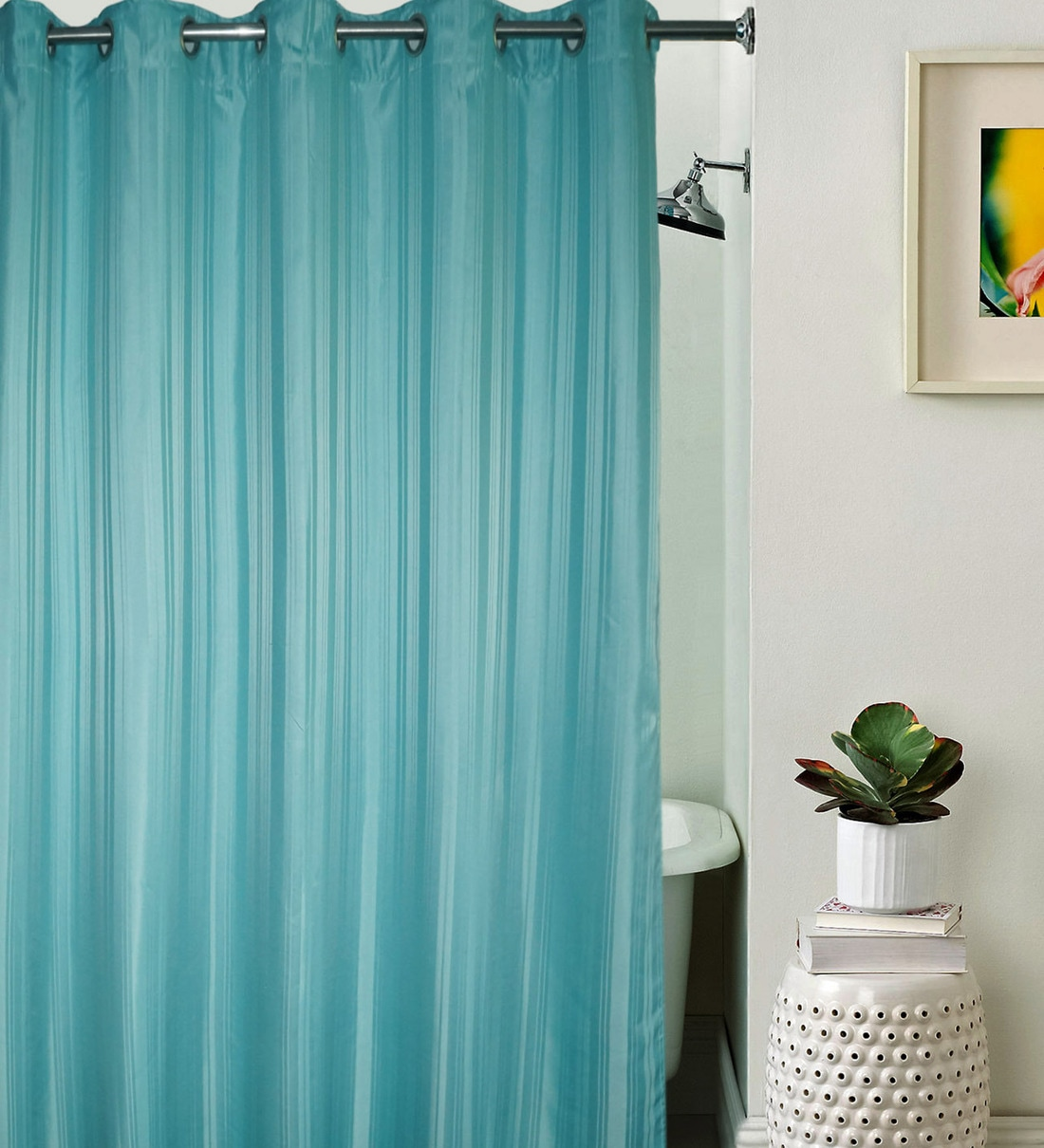 Buy Blue Striped Pattern Polyester Shower Curtain By Lushomes Online Shower Curtains Shower Curtains Furnishings Pepperfry Product