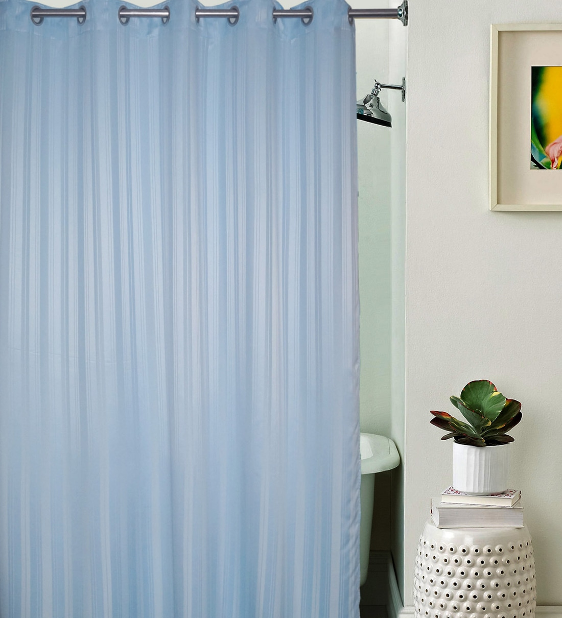 sky blue striped pattern polyester shower curtain