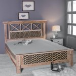 Buy Margot Hand Painted Queen Size Bed With Storage In Washed Finish By Fabuliv Online Transitional Queen Size Beds Beds Furniture Pepperfry Product