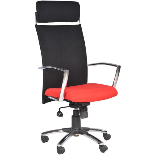 office chair malaysia rolling shower with padded seat buy high back red in colour by chromecraft online executive chairs pepperfry