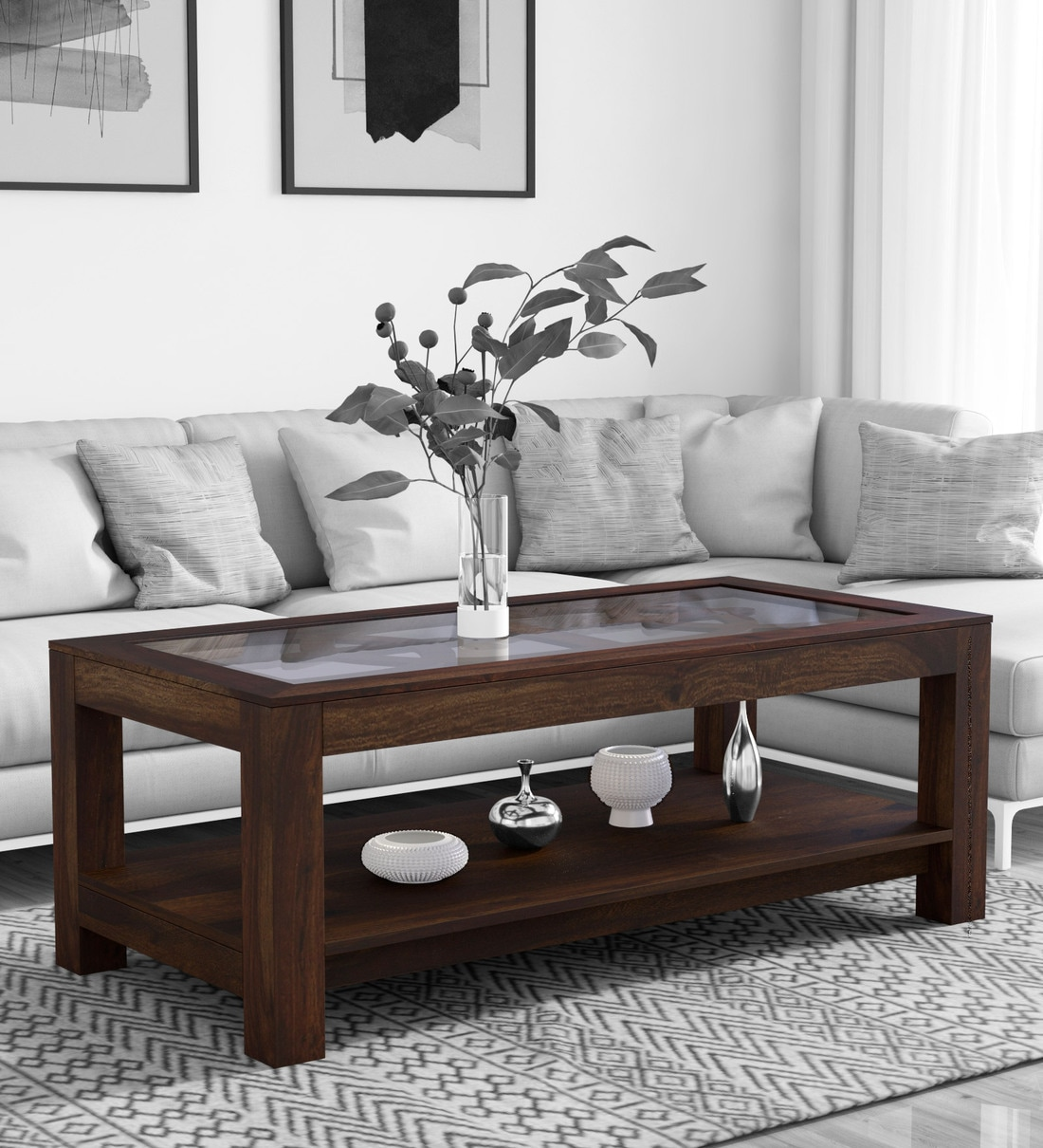 mckaine solid wood coffee table with glass top in provincial teak finish