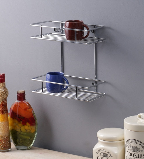 wall mounted kitchen shelves ceiling tiles buy meded multipurpose 2 tier stainless steel rack