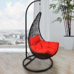 Swing Chair With Stand Pepperfry Modern Plastic Buy Mirto Black Frame Red Cushion By Home Online Swings Hammocks Outdoor Furniture Product