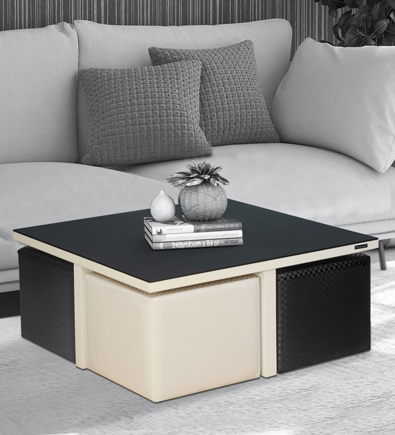 miles nesting coffee table set in black white finish