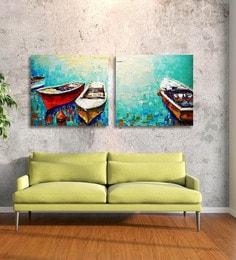 paintings for living room wall white corner tv units painting designs buy online in india at best multicolour handmade pictures decoracion water with boat 2 panel hand painted canvas