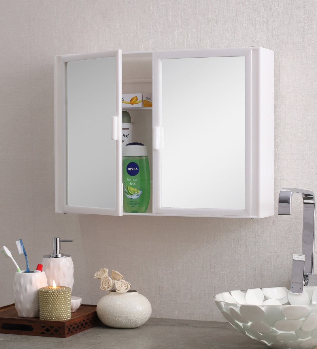 Buy Acrylic White 8 Compartment Bathroom Cabinet L 22 W 4 H 16 Inches By Navrang Online Plastic Cabinets Bathroom Cabinets Discontinued Pepperfry Product