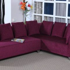 Sofa Set Pune India Crate Barrel Giveaway Buy Naples L Shaped With Cushions In Purple ...