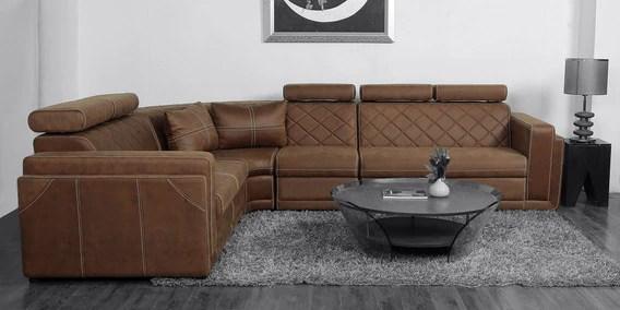 nova corner sofa with upholstery in tan colour