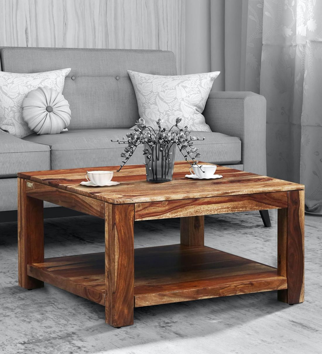Buy Oriel Solid Wood Coffee Table In Rustic Teak Finish By Woodsworth Online Square Coffee Tables Tables Furniture Pepperfry Product