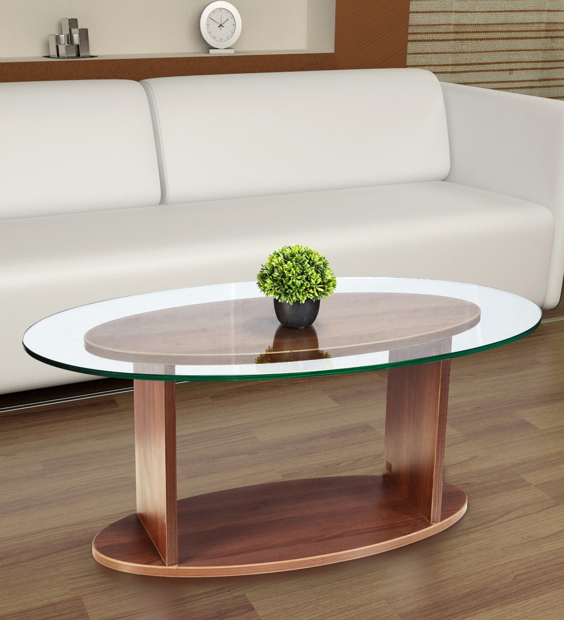 oval shaped glass top coffee table in walnut finish