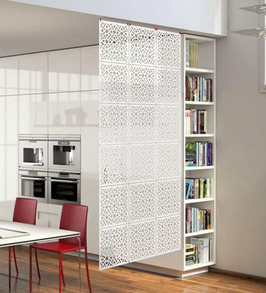 acrylic hanging room divider in white colour