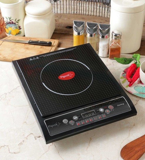 kitchen cooktops cabinets knobs buy pigeon amaze sterling induction cooktop online appliances pepperfry product