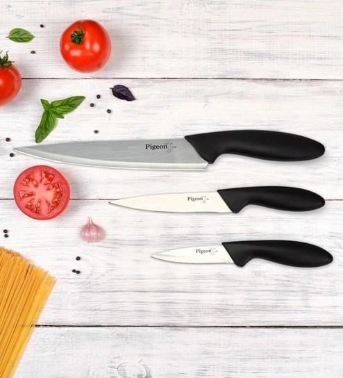 red kitchen knife set large sinks buy pigeon aluminium 3 pcs knives assorted color black or blue