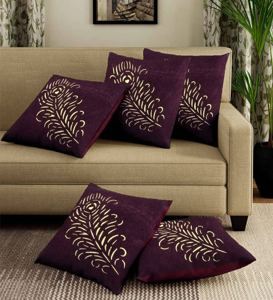 set of 5 floral pattern velvet purple cushion covers 16 x 16 inches