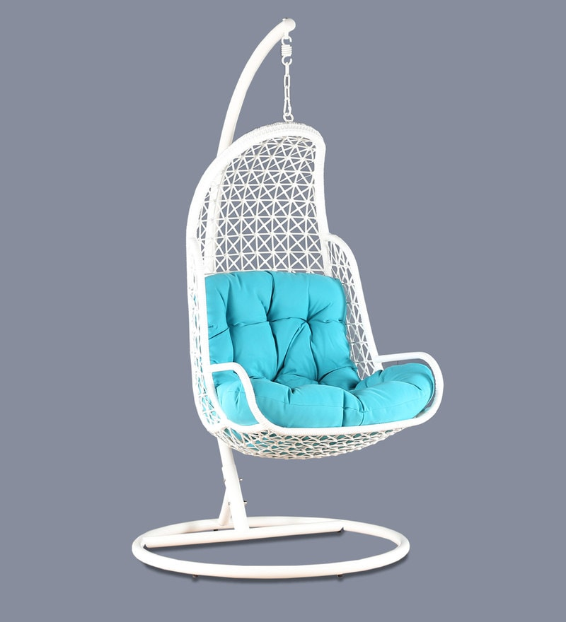 swing chair home town dorm room chairs buy rihanna with stand teal cushion in white frame by click to zoom out