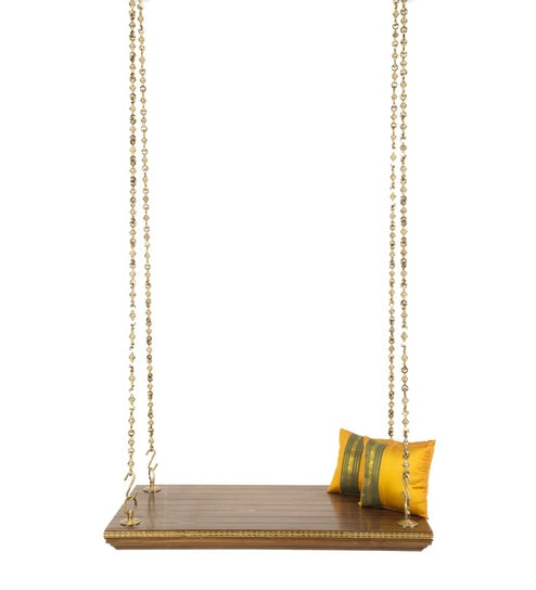 swing chair with stand pepperfry best xbox gaming 2018 buy rudrapriya jhula antique brass chain in walnut colour by furnicheer online swings hammocks outdoor furniture product