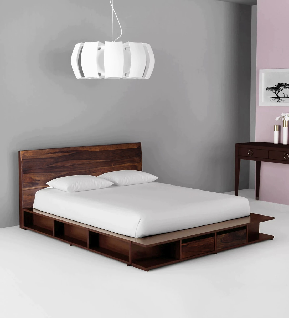 Buy Sencillo Solid Wood King Size Platform Bed With Drawer Storage In Provincial Teak Finish By Woodsworth Online Platform King Size Beds Beds Furniture Pepperfry Product