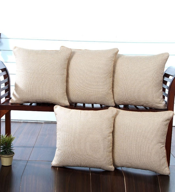 jute plain solid 16x16 inch cushion covers set of 5