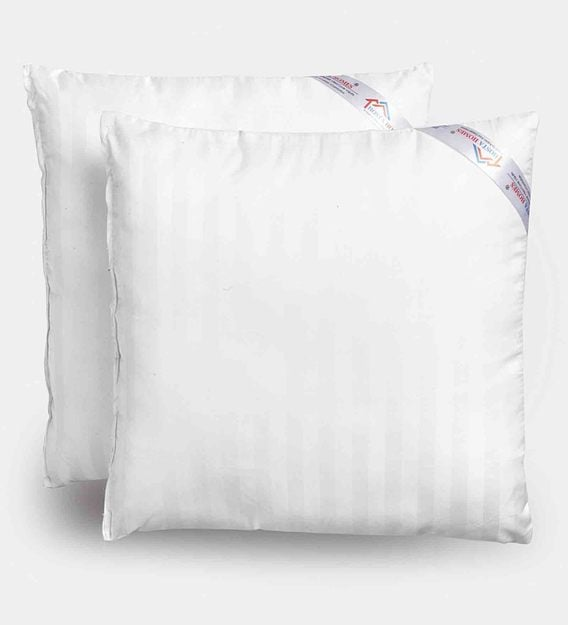 white microfiber filled 24x24 inches cushion inserts set of 2