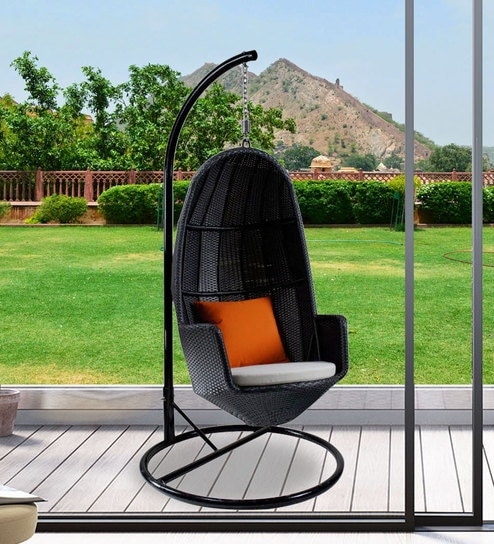 swing chair with stand pepperfry modern computer buy shuttle in black color by alcanes online swings hammocks outdoor furniture product
