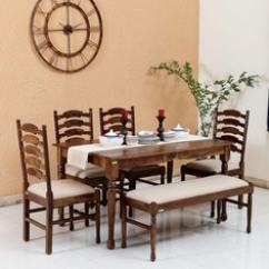 Affordable Kitchen Table Sets Hood Design Dining Set Buy Online At Best Price In India Encore Solid Wood Six Seater 4 Chairs 1 Bench Provincial