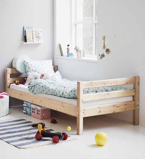 Buy Classic Pine Wood Single Bed In Natural Finish By Lots For Tots Online Kids Single Beds Kids Single Beds Kids Furniture Pepperfry Product