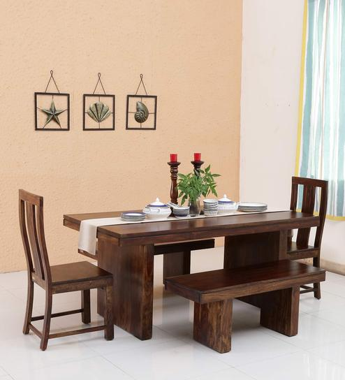 2 chair kitchen table set corner bench seating for buy glamour solid wood six seater dining chairs benches in provincial
